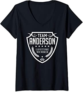 Womens Team Anderson Lifetime Member Matching Family Crew Shirt V-Neck T-Shirt