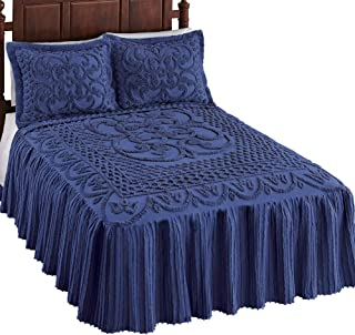 Pristine Scroll and Lattice Chenille Bedspread Navy Full