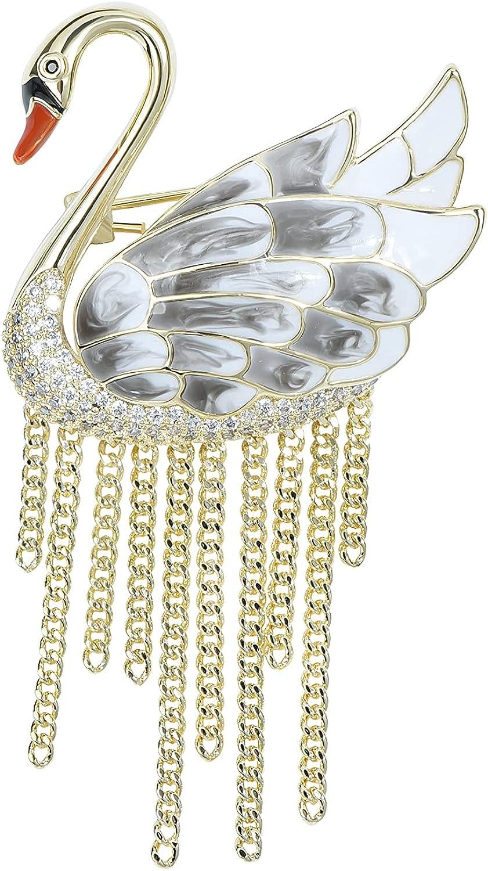 YYBONNIE Elegant Black Cubic Zirconia Crystal Bird P Brooch Fashionable Free Shipping New Swan