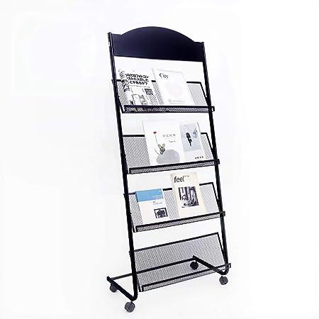 GENMO 雑誌とパンフレットスタンド 車輪付き 文学ディスプレイスタンド 4段棚 フロア黒