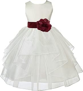Áo quần dành cho bé gái – Wedding Pageant Ivory Shimmering Organza Flower Girl Dress 4613S