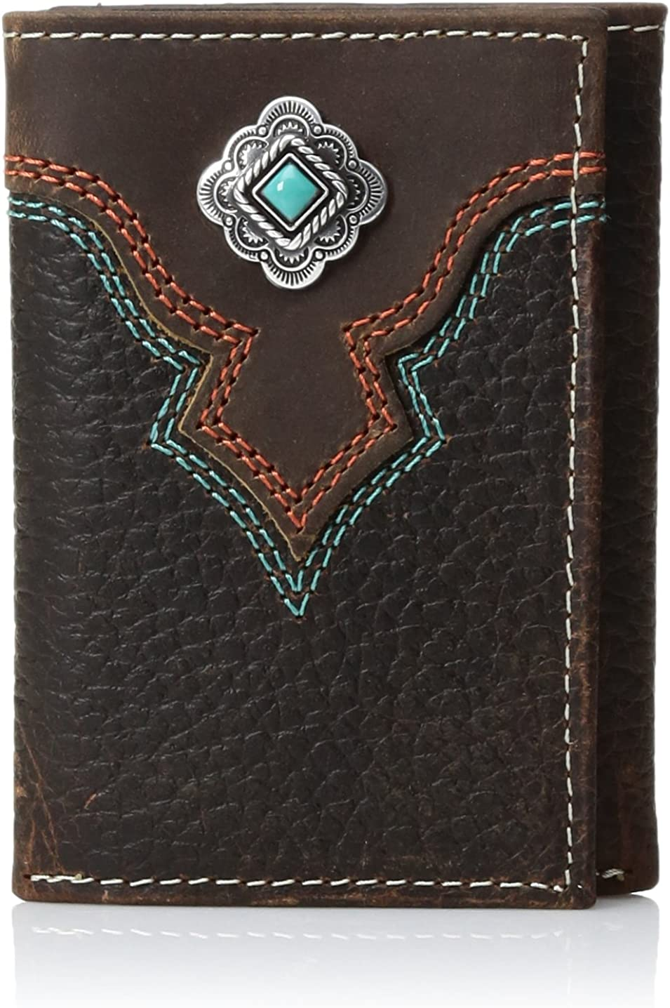 Nocona Men's Multi Stitch Color Tirquoise Trifold Wallet