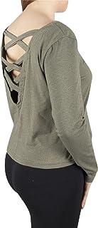 Lofbaz Lobaz Women's Loose Pullover Shirt Juniors Long Sleeve Top Designer Criss Cross Back Straps