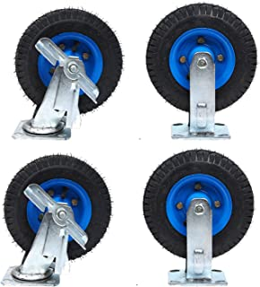 Zwenkwielen wielen - rubberen opblaasbare wielen, met 360 graden bovenplaat en rem, slijtvast, antislip, stil, maximale be...
