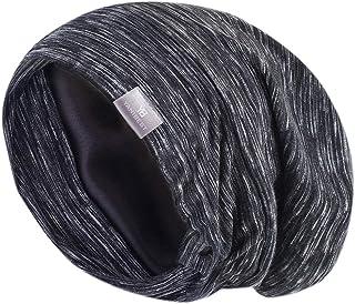 کلاه خواب YANIBEST فوق العاده بزرگ قابل تنظیم با روکش ساتن Slouchy Beanie برای موهای خشک و موهای مجعد در تمام شب 2018 (یک اندازه ، سیاه 01)