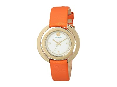 Tory Burch Grier Leather Watch (Orange TBW5305) Watches