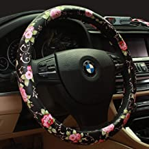 Limited - Binsheo PU Leather Floral Auto Car Steering Wheel Cover,for Women Girls Ladies,Anti Slip Non-toxic Universal 15 Inch, Chinese Style,Black with Red Flowers