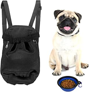 Small Dog Carrier Backpack Cat Carrier Bag Hands Free Lightweight Legs Out Adjustable Pet Front Cat Dog Carrier Bag for Traveling Hiking Camping with A Collapsible Pet Bowl