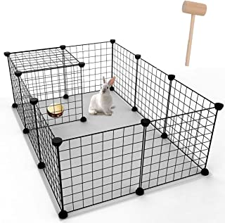 YOUKE Pet Playpen, Small Animal Cage Indoor Portable Metal Wire Yard Fence for Small Animals, Guinea Pigs, Rabbits Kennel Crate Fence Tent, 12 Panels