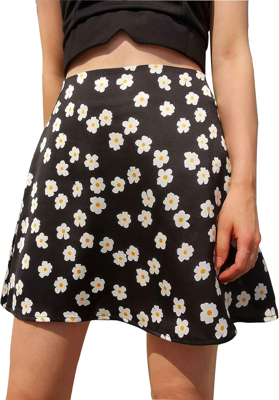A AURA Women's Casual Floral Print Mini Short Skirt Summer Cute High Waist Satin Silk Zipper Skirt
