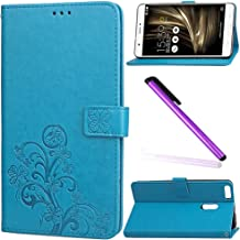 ASUS ZenFone 3 Ultra Case Cover EMAXELER Stylish Colour Kickstand Credit Cards Slot Cash Pockets Embossing PU Leather Flip Wallet Case For Zenfone 3 Laser ZU680KL Clover Blue