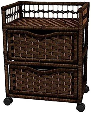 """Oriental Furniture 23"""" Natural Fiber Chest of Drawers on Wheels - Mocha"""