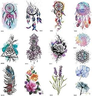 COKTAK 12Pieces/Lot 3D Watercolor Dreamcatcher Temporary Tattoos For Women Body Art Arm Fake Jewelry Tattoo Sticker Dream ...