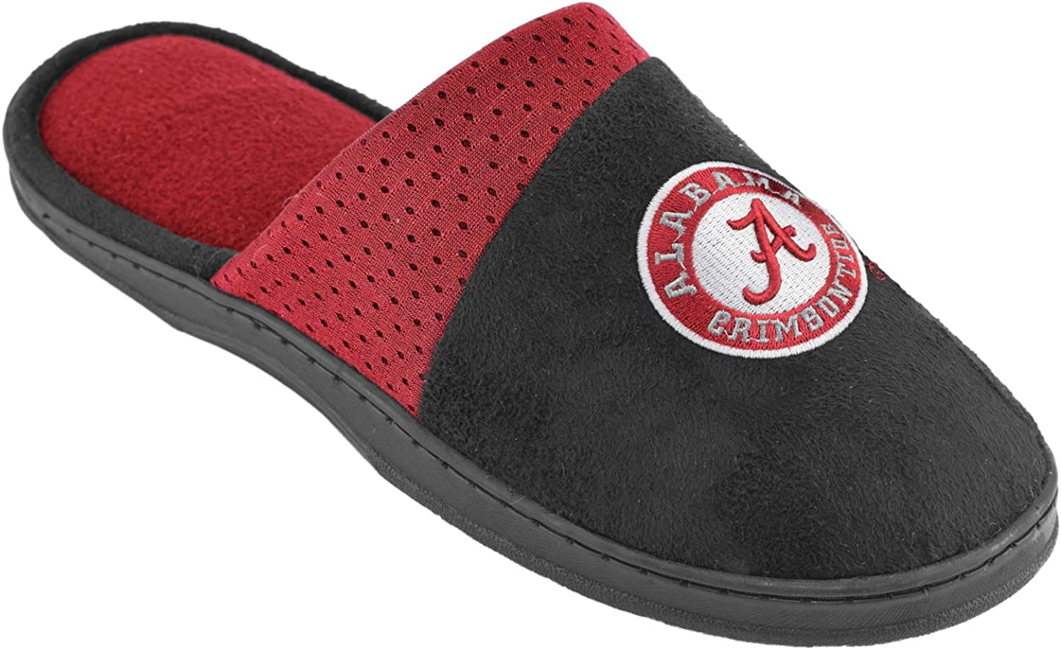 Campus Footnotes Mens Team Logo Black Scuff Slippers (Pick Your Team)