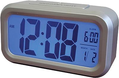 Westclox 70045 Smart retroiluminación Alarma Reloj, Plata