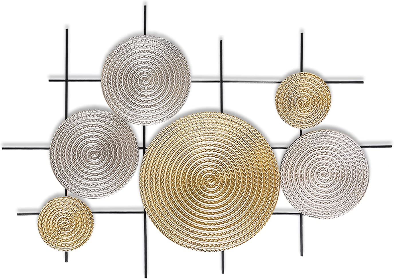 Metal Wall Art Modernist Iron Wall Decor Silver and Gold Modernist Floating Circles Crinkle Hand Cast Abstract Geometric Decoration for Porch,Room,Living Room, about 2.5FT Long