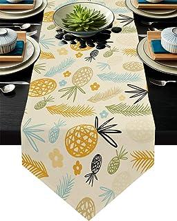 Homestar - Camino de mesa de lino para comedor (457 x 1828 cm) diseño de flores de piña de verano
