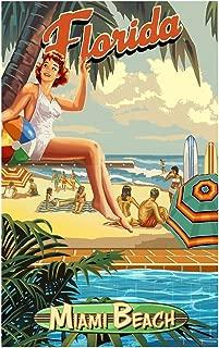 Miami Beach Florida Poolside Girl Travel Art Print Poster by Paul A. Lanquist (12
