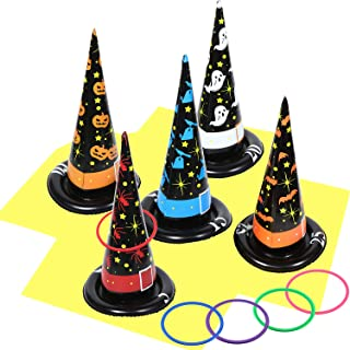 Halloween Inflatable Ring Toss Set, Halloween Inflatable Witch Hat Ring Toss Game, Halloween Decoration Party Game Holiday...