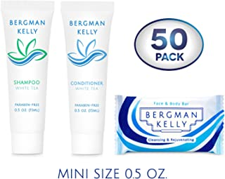 BERGMAN KELLY Rectangular Soap Bars, Shampoo & Conditioner 3-Piece Set (0.5 oz each, 150 pc, White Tea), Delight Your Guests with Revitalizing & Refreshing Bulk Travel Toiletries & Hotel Amenities