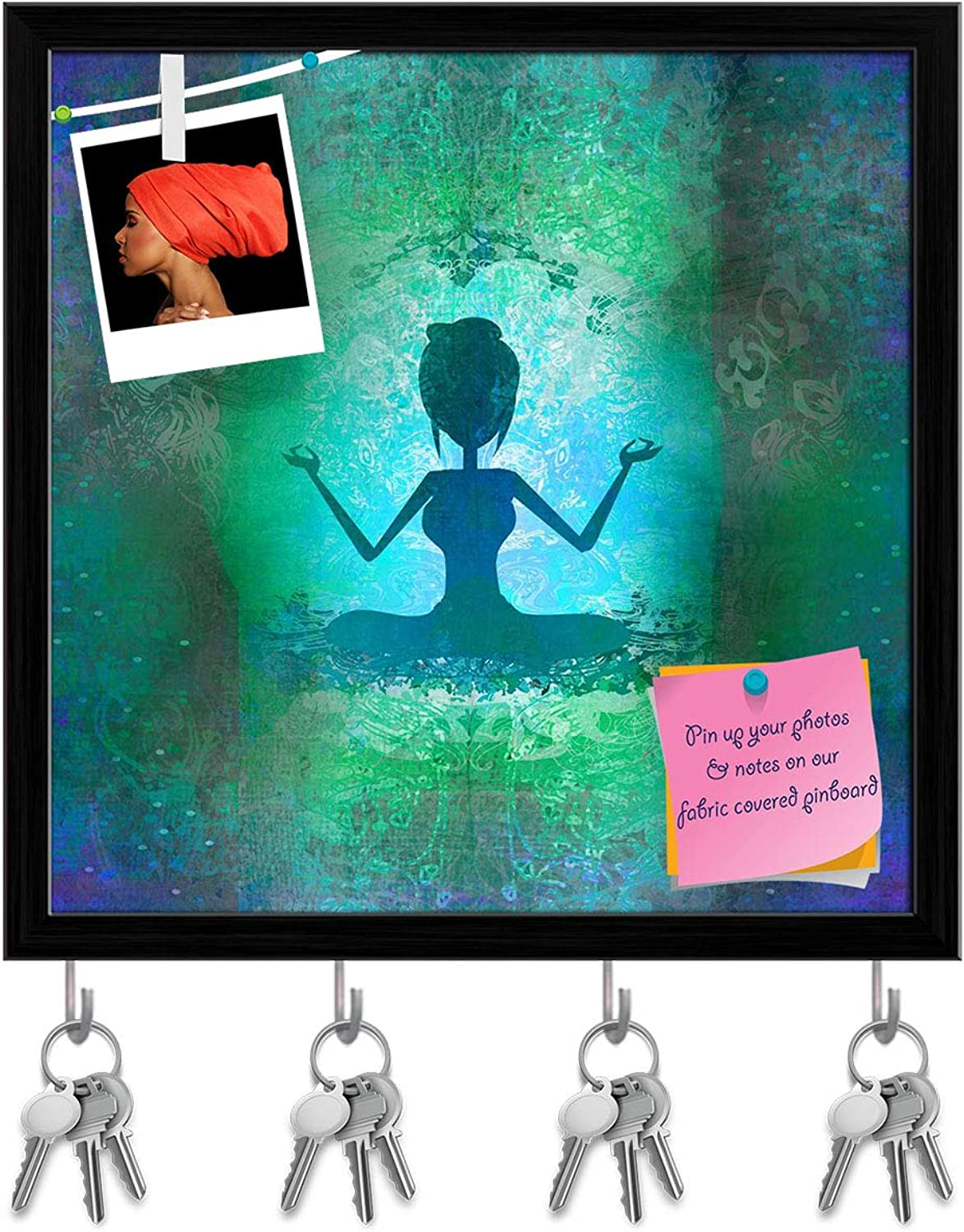 Artzfolio Yoga Girl in Lotus Position Key Holder Hooks   Notice Pin Board   Black Frame 20 X 20Inch
