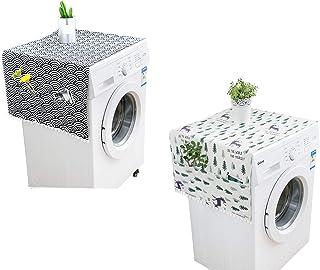 ASFINS Housse de Protection pour Réfrigérateur, 2 Pièces Housse de Réfrigérateur avec Sacs de Rangement des Deux Côtés pou...