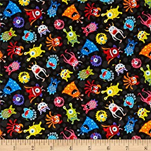 Fabri-Quilt Paintbrush Studios Launch Party Monsters Fabric, Black, Fabric By The Yard