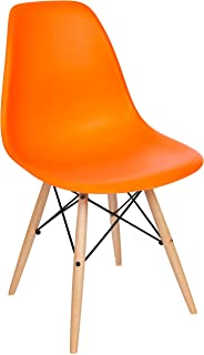 Poly and Bark Modern Mid-Century Side Chair with Natural Wood Legs for Kitchen, Living Room and Dining Room, Orange