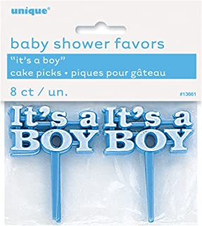 Plastic Blue It's a Boy Baby Shower Cupcake Toppers, 8ct