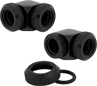 Corsair Hydro X Series, XF Hardline 90 Degree 12 mm OD Fittings Twin Pack (Solid Brass Durability, Quality Finish, Double ...