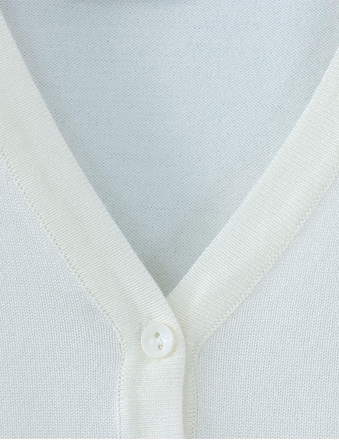 SeekMe Women's Lightweight Knit Cardigan Sweater Short Button Down Knitwear Top