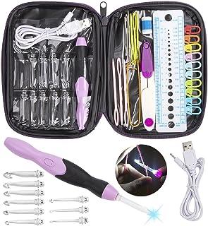 LED Aiguille à Crochet, Feelava Lumineux Aiguilles à Tricoter Tricot Outils avec Organisateur Cas & Rechargeable Batteries...