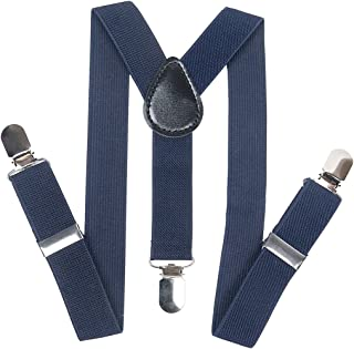 Kids Y-Style Adjustable Elastic Sturdy Metal Clips PU Leather suspender