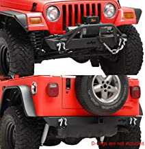 KML Front Bumper and Rear Bumper Combo Black Textured Rock Crawler Fit for 87-06 Jeep Wrangler TJ YJ