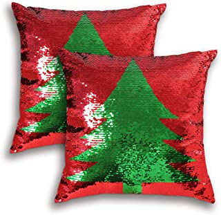 """Coeufuedy Christmas Red Sequin Pillow Covers 18"""" x 18"""" Reversible Decorative Throw Pillows Sequins Pillow Case Magic Merma..."""