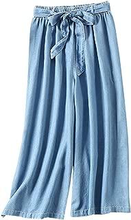 Women's Elastic Waist Cropped Tencel Denim Wide Leg Culottes Pants