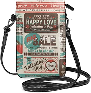 Crossbody Cell Phone Purse Happy Love Newspaper Wallet For Women