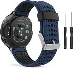 MoKo Garmin Forerunner 235 Watch Band, Soft Silicone Replacement Watch Band for Garmin Forerunner 235/235 Lite / 220/230 / 620/630 / 735XT - Midnight Blue & Black