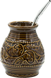Ceramic Yerba Mate Gourd With Emboss Calabash Pattern (Brown With Straw)