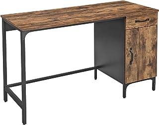 VASAGLE Bureau, Table, avec tiroir et Placard de Rangement, pour Bureau, Salon, Chambre, Assemblage Simple, métal, Style I...