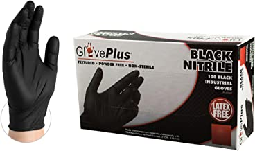 AMMEX - GPNB46100-BX - Industrial Nitrile - GlovePlus - Disposable, Powder Free, Industrial, 5 mil, Large, Black (Box of 100)