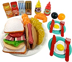 Liberty Imports Sandwich Fast Food Cooking Play Set for Kids - 33 Pieces (Sandwich, Hotdog, Crackers, and More)
