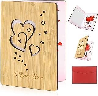 HOWAF Tarjeta de felicitación Tarjeta Amor de imitación de Madera con sobre, Idea de Regalo para cumpleaños, Bodas, San Valentín y Aniversarios, Muttertag