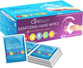 Care Touch Hand Sanitizing Wipes - 110 Individually Wrapped Scent-Free Wet Cleaning Wipes for Home, Office, Travel and Outdoor Use