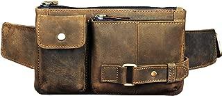 Le'aokuu Mens Genuine Leather Travel Sport Sling Hip Bum Fanny Waist Pack bag (A 8135 Dark brown)