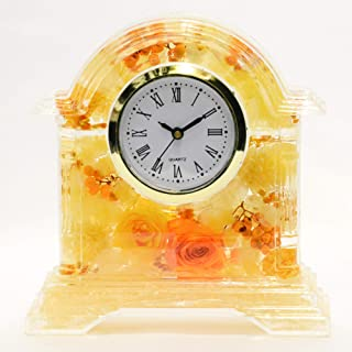 Lulu's ルルズ ハーバリウム 花時計 Flower clock イエロー プリザーブドフラワー ドライフラワー サイズ:高さ14×幅13×奥行4cm 時計文字盤ローマ数字イエロー Lulu's-0499