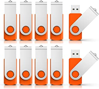 RAOYI 10PCS 2GB USB Flash Drive Orange Pen Drive Thumb Drive USB 2.0 Memory Stick Swivel Design
