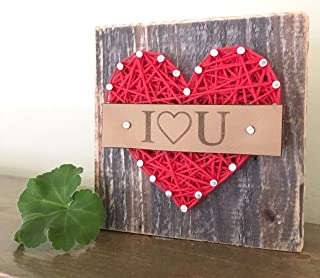 Sweet & small I love you string art block sign. Heart gift. Perfect for Birthdays, Anniversaries or just because gifts. Made in the USA by Nail it Art