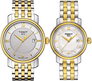 Tissot His & Her Swiss Made Bridgeport Quartz Stainless Steel Band Watch T097.410.22.038.00/T097.010.22.118.00