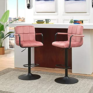 Duhome Bar Stools Set of 2 Modern Square Velvet Adjustable BarStools Counter Height Stools with Arms and Back Bar Chairs 360° Swivel Stool Pink